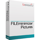 FILEminimizer Pictures can reduce the file size of JPEG, GIF, TIFF, PNG, BMP and EMF images by up to 98%, with absolutely no loss in quality.