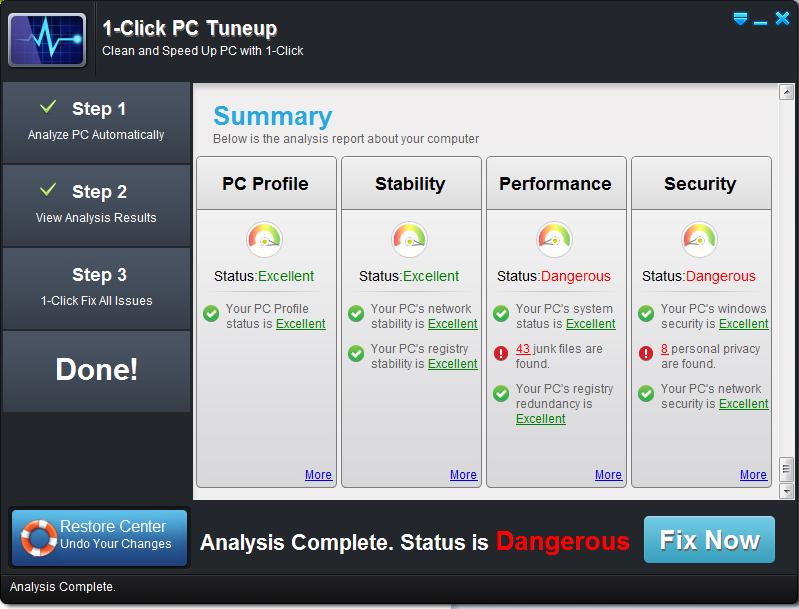1-Click PC Tuneup (3 PCs), System Tweaker Software Screenshot