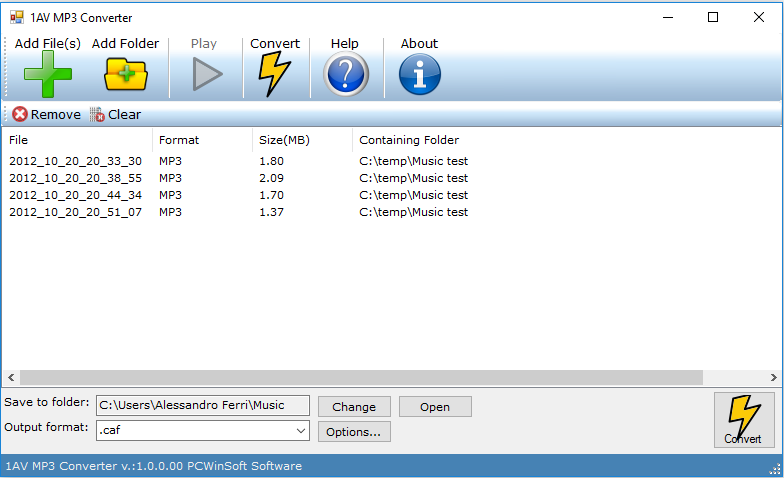 1AV MP3 Converter Screenshot