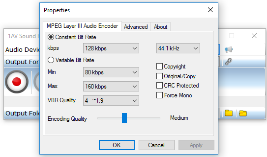 1AV Sound Recorder, MP3 Recording Software Screenshot