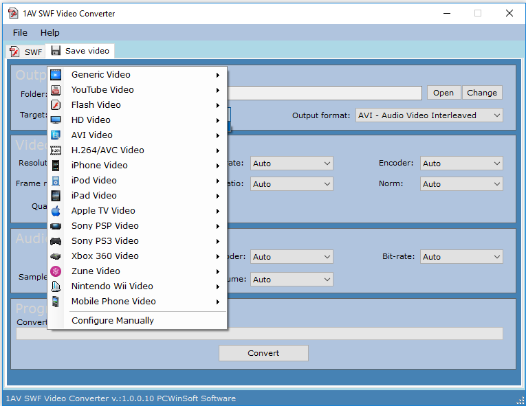 1AV SWF Video Converter, Video Software Screenshot