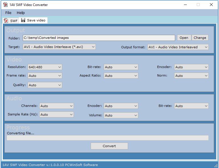 1AV SWF Video Converter, Video Converter Software Screenshot