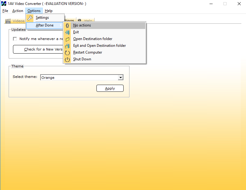 1AV Video Converter, Video Converter Software Screenshot