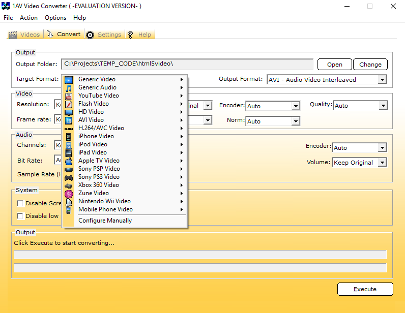 Video Software, 1AV Video Converter Screenshot