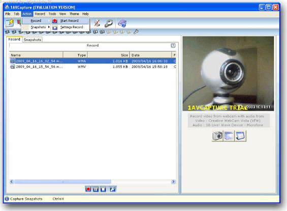 1AVCapture, Video Software Screenshot