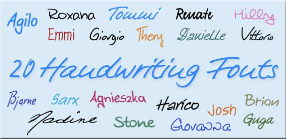 20 Handwriting Fonts Screenshot