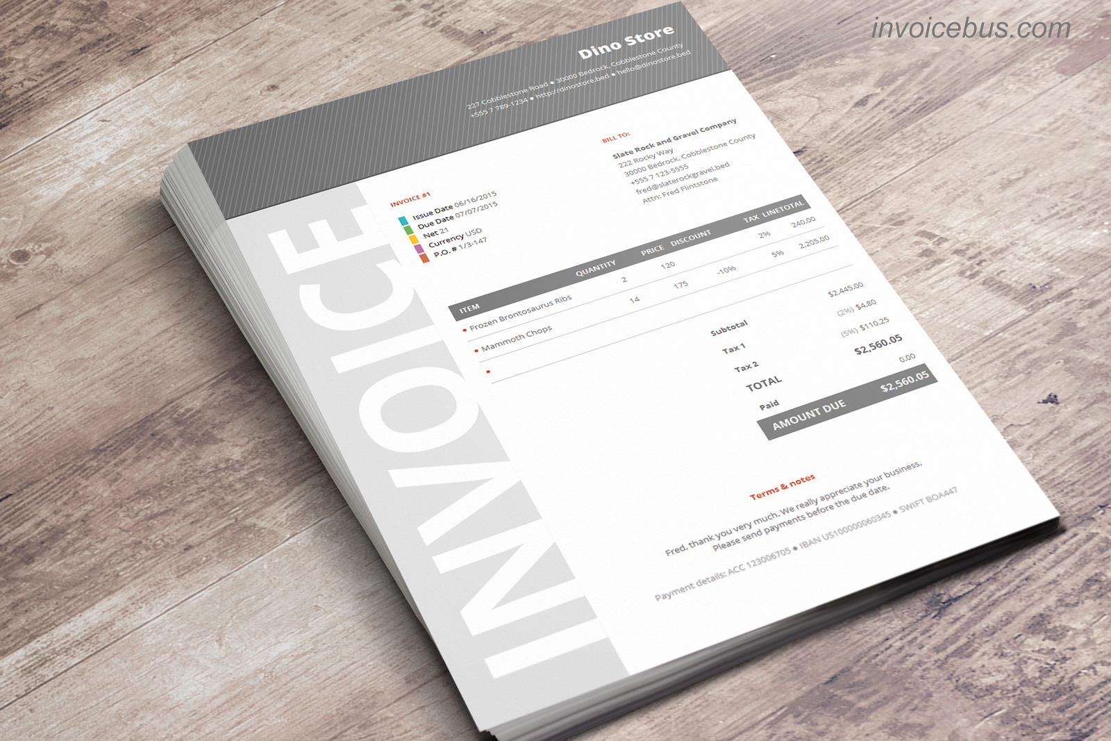 40+ Interactive Invoice Templates Screenshot