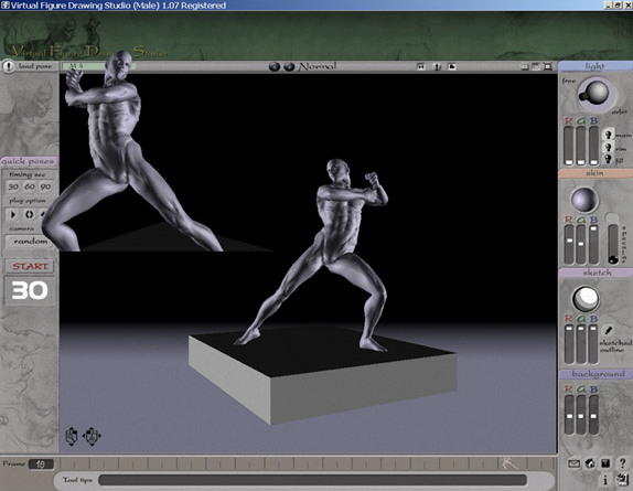3D VFDS Male, Art Technique Software Screenshot