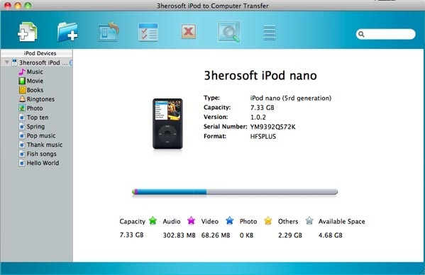 3herosoft iPod to Computer Transfer Screenshot