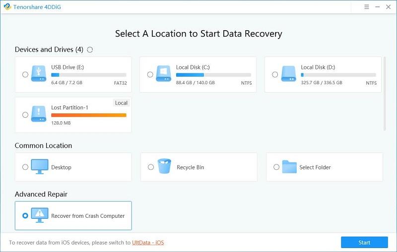 4DDiG Windows Data Recovery Screenshot