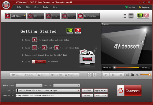 4Videosoft 3GP Video Converter Screenshot