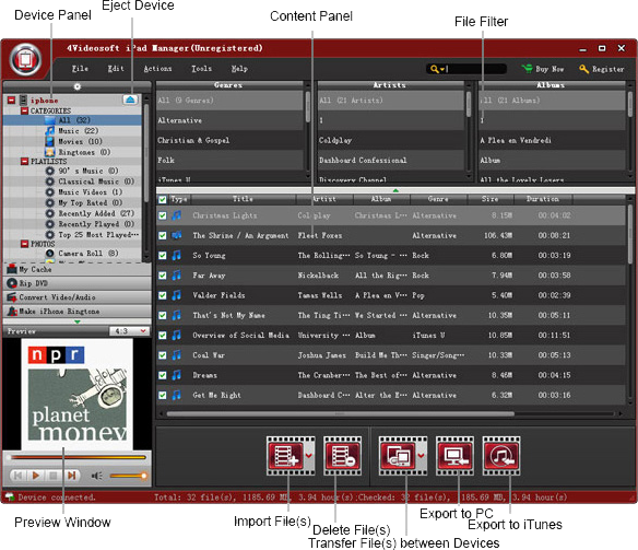 4Videosoft iPad Manager Screenshot