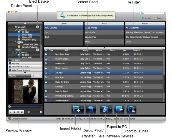4Videosoft iPad Manager, iPod iPhone iTunes Software Screenshot