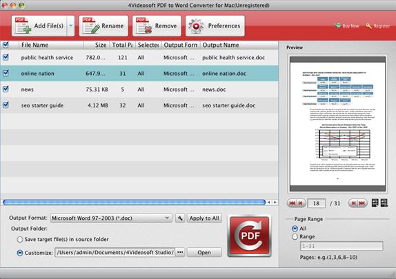 4Videosoft PDF to Word Converter, Business & Finance Software Screenshot
