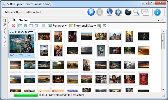 500px Spider, Internet Software Screenshot
