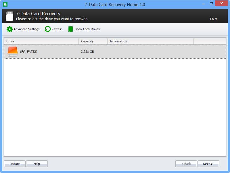 7-Data Card Recovery Screenshot