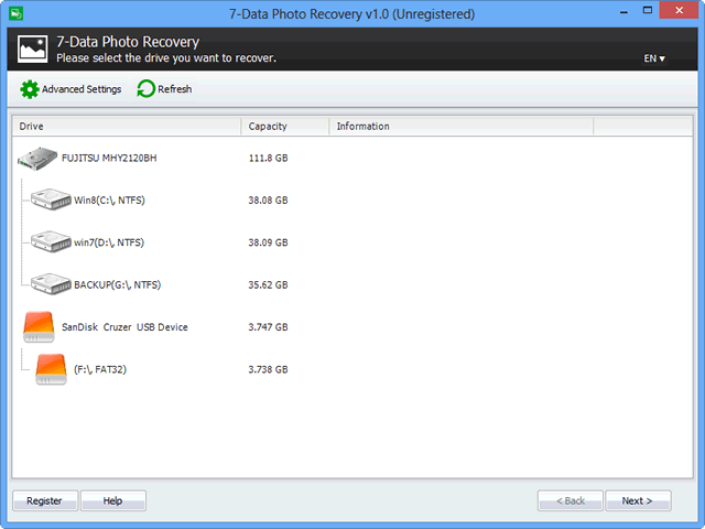 7-Data Photo Recovery Screenshot