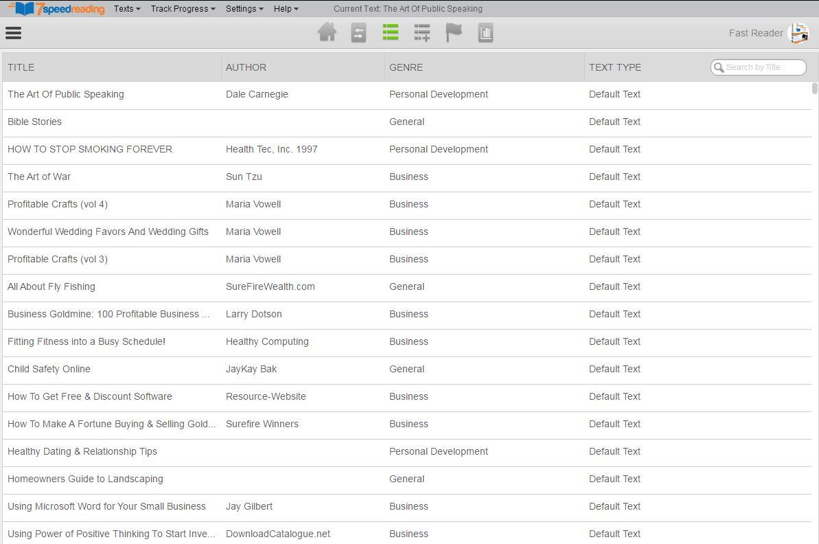 7 Speed Reading, Development Software Screenshot