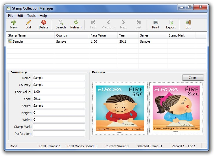 Stamp/Coin/Banknote Collection Manager Screenshot