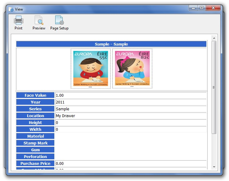 Stamp/Coin/Banknote Collection Manager, Cataloging Software Screenshot