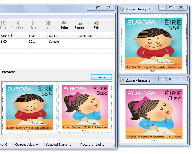 Stamp/Coin/Banknote Collection Manager, Hobby, Educational & Fun Software, Cataloging Software Screenshot