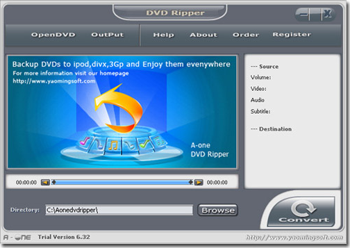 A-one DVD ripper Screenshot