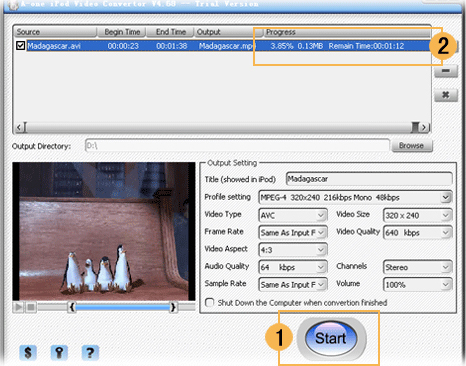A-one iPod Video Converter, Video Converter Software Screenshot