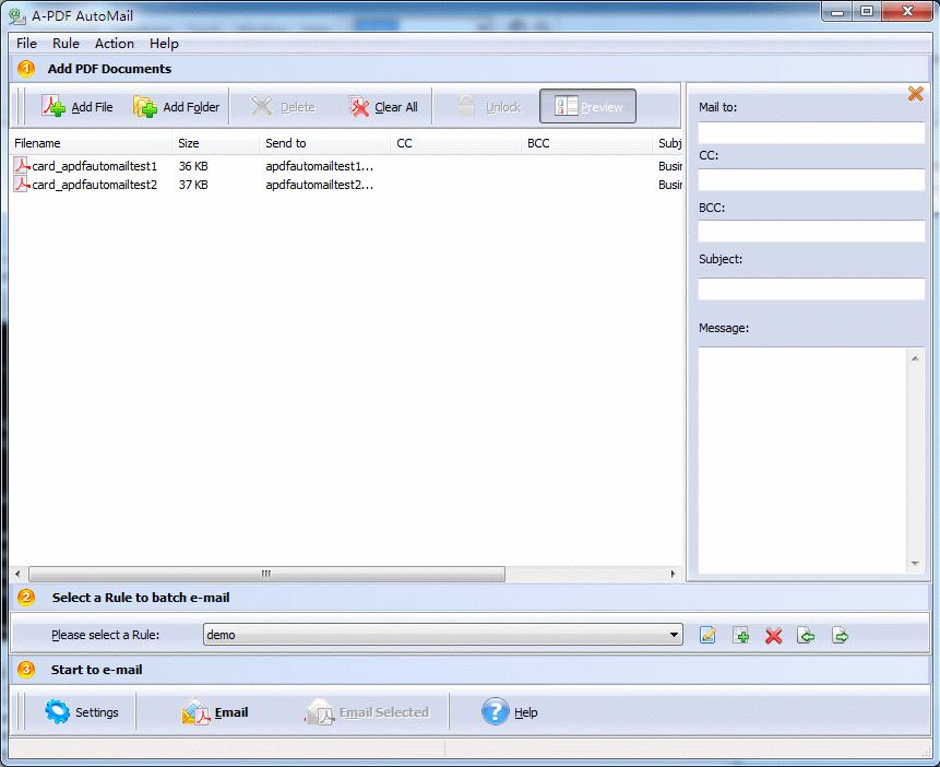 A-PDF AutoMail Screenshot