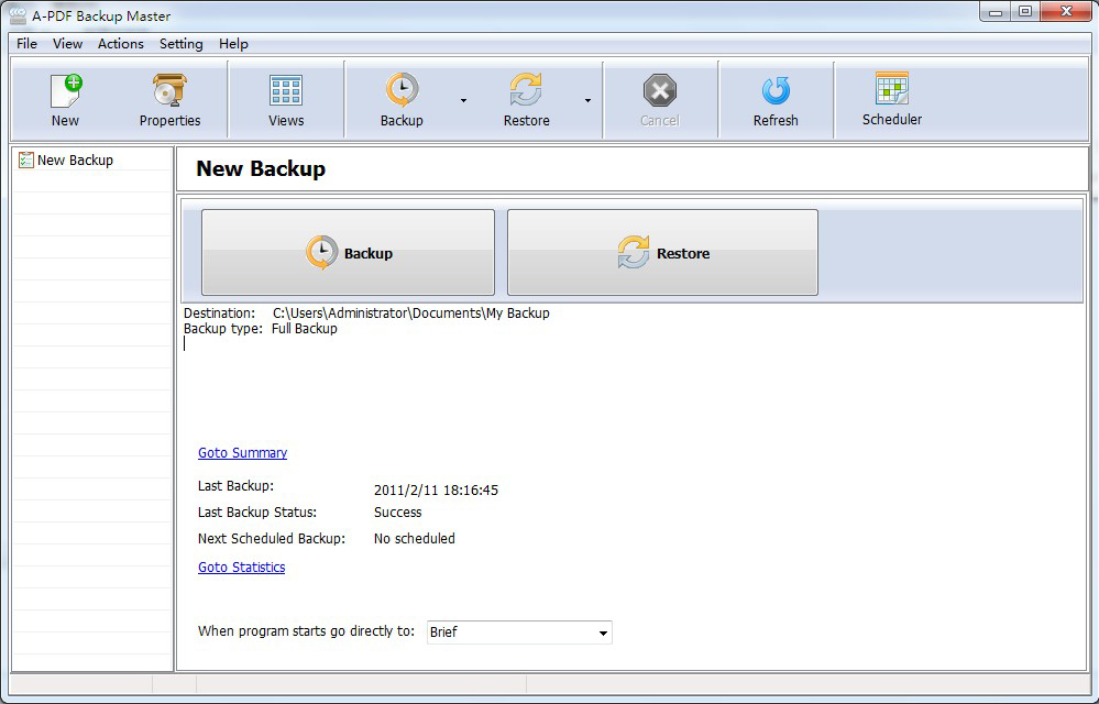 A-PDF Backup Master (Easy Backup) Screenshot