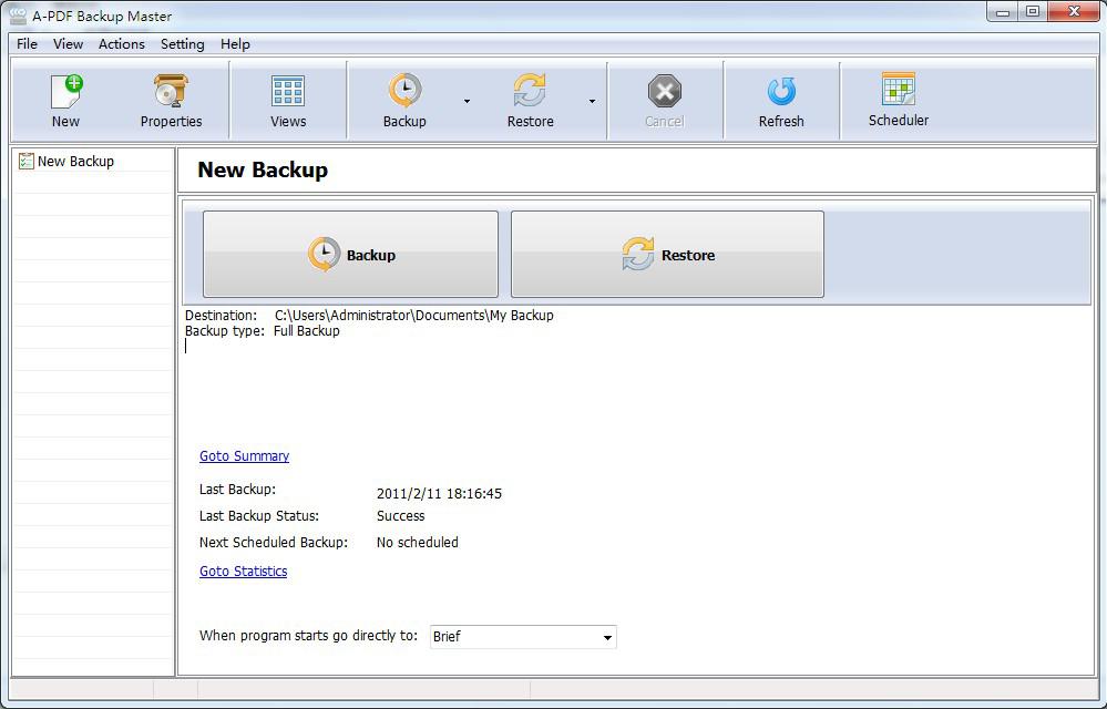 A-PDF Backup Master (Easy Backup) Screenshot