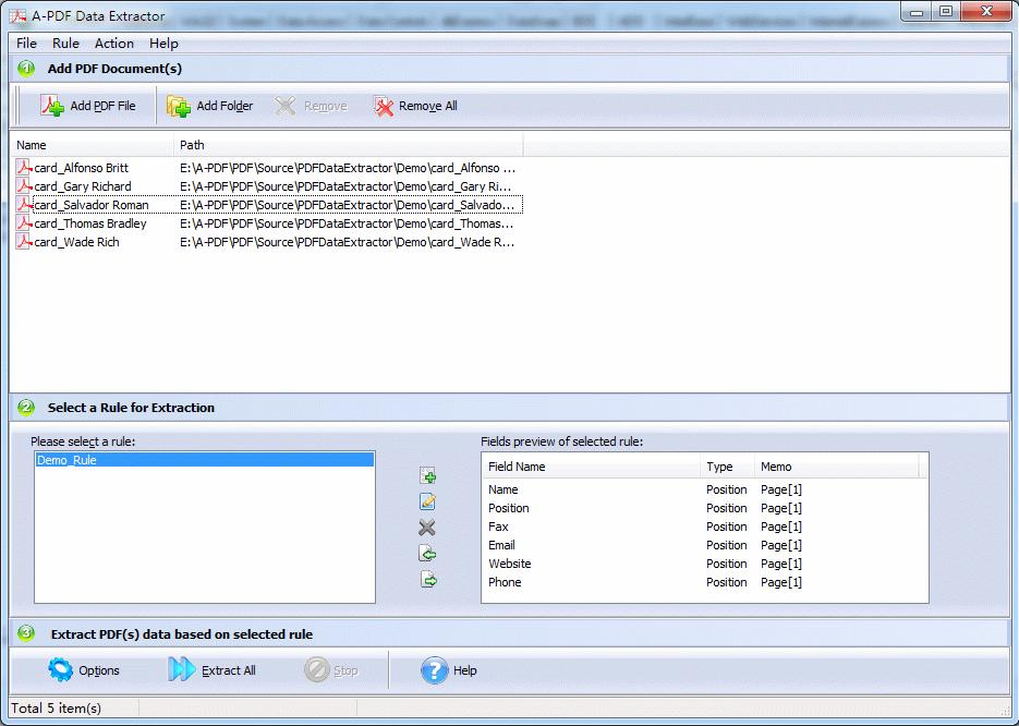 A-PDF Data Extractor Screenshot