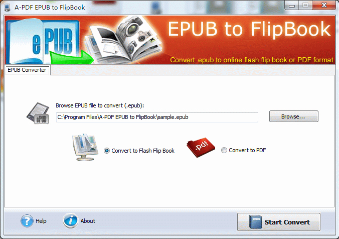 A-PDF EPUB to Flipbook Screenshot