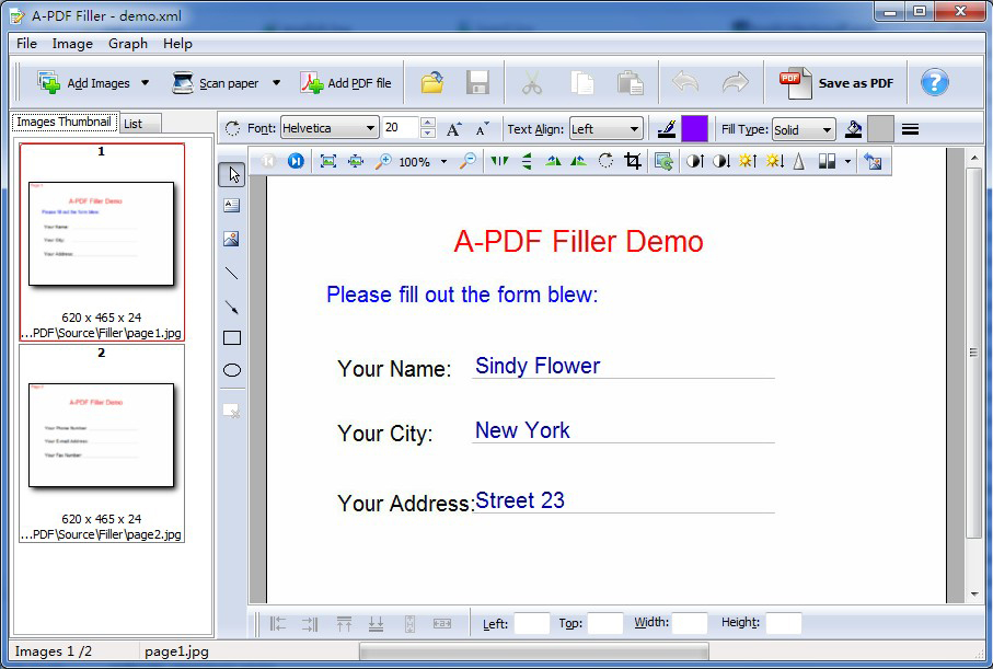 A-PDF Filler Screenshot