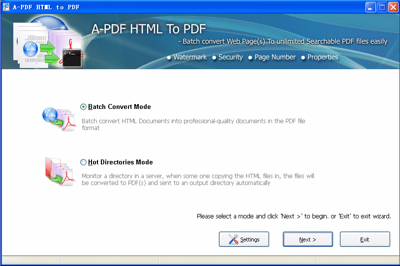 A-PDF HTML to PDF Screenshot