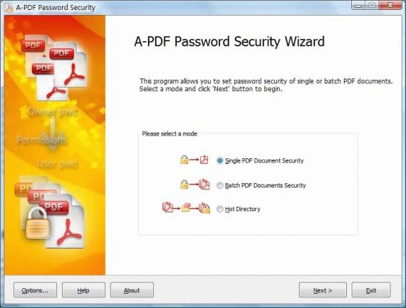 A-PDF Password Security Screenshot