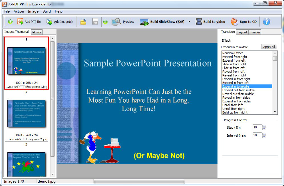 A-PDF PPT to EXE Screenshot