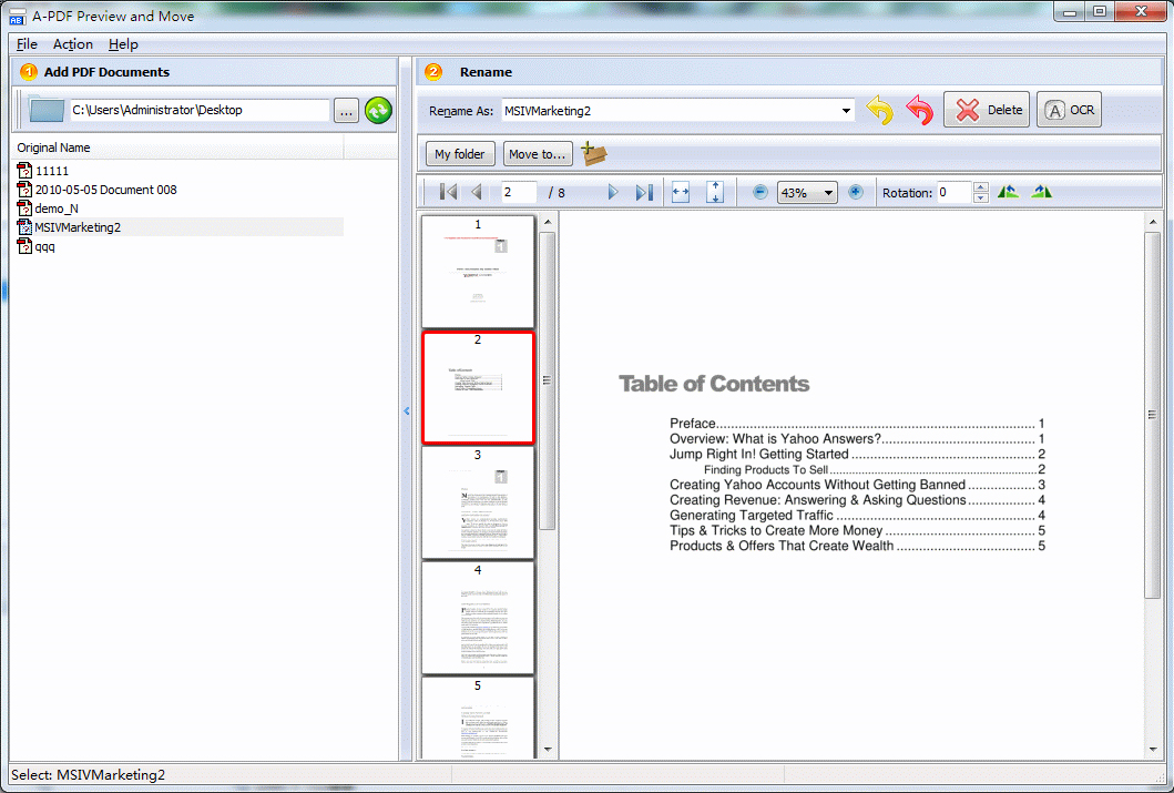A-PDF Preview and Move Screenshot
