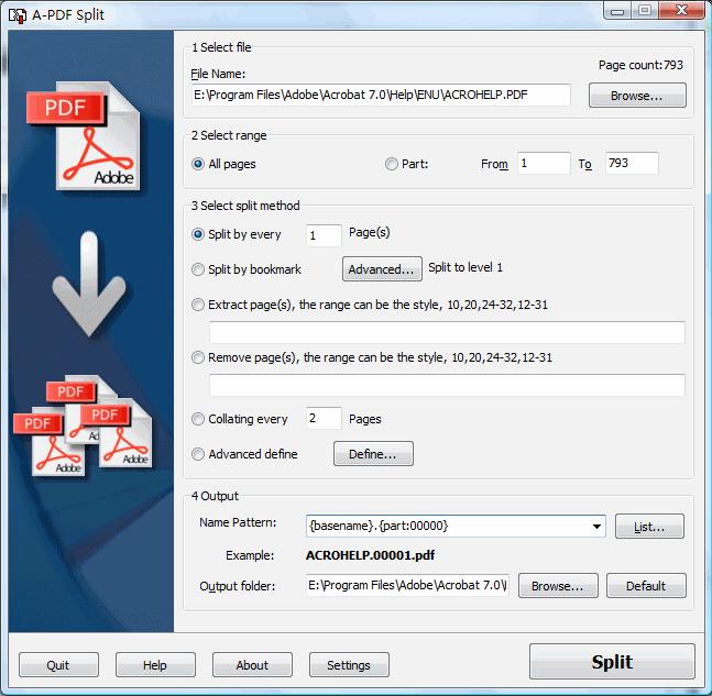 A-PDF Split Screenshot