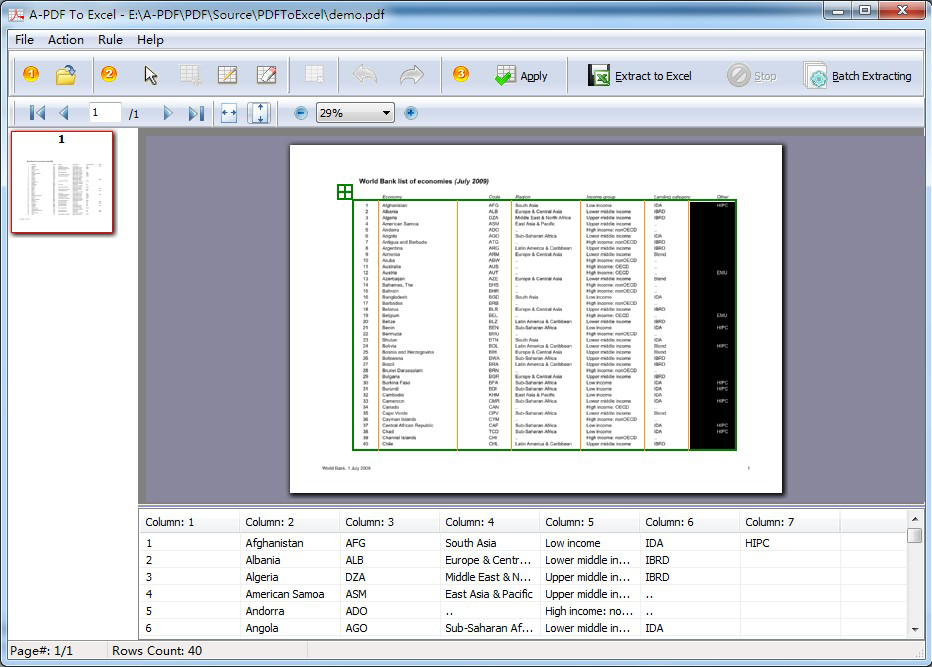 A-PDF To Excel Screenshot