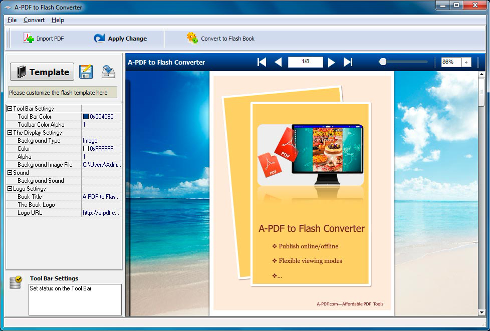 A-PDF to Flash Converter Screenshot
