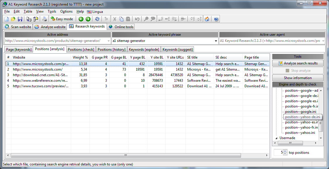 A1 Keyword Research 10.x, SEO / Keyword Software Screenshot