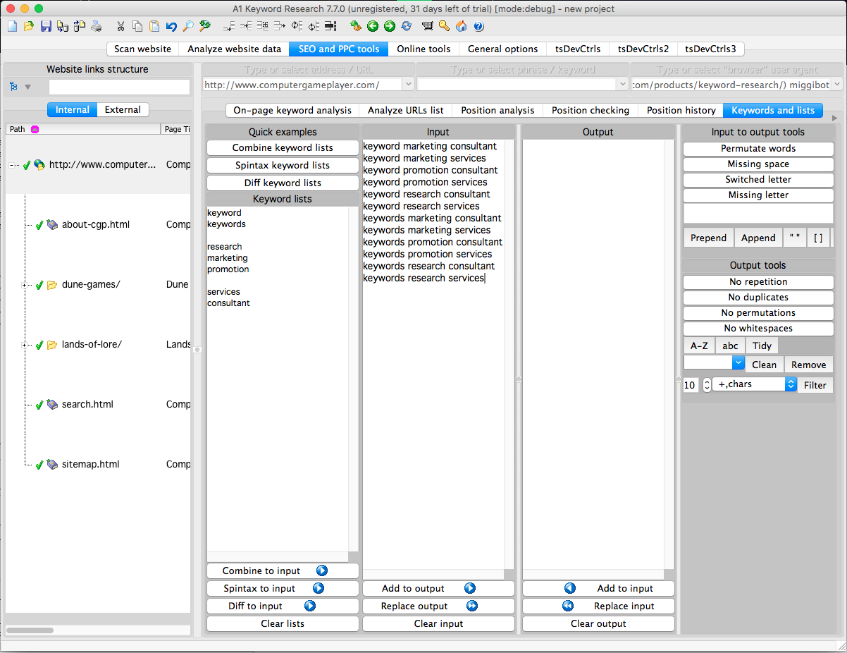 A1 Keyword Research 10.x, Development Software Screenshot