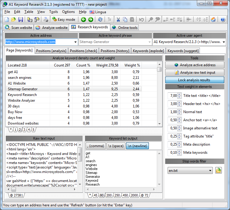 A1 Keyword Research 10.x Screenshot