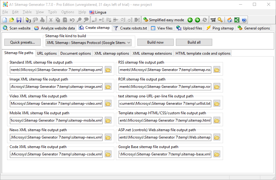 SEO / Keyword Software, A1 Sitemap Generator 10.x Pro edition Screenshot