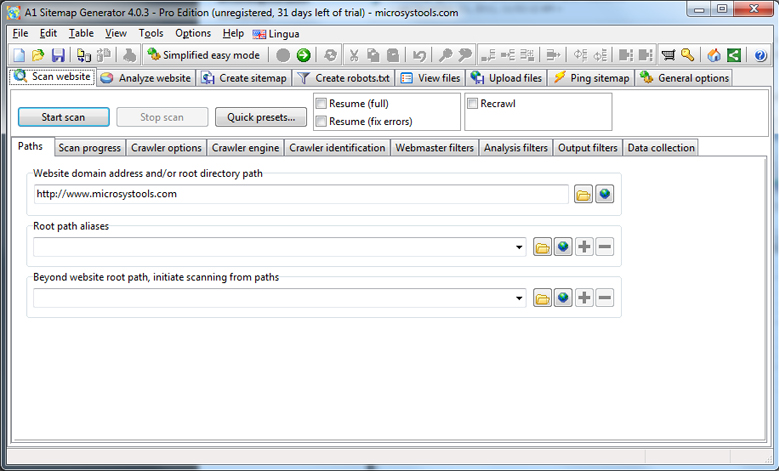 A1 Sitemap Generator 10.x Pro edition, Development Software Screenshot