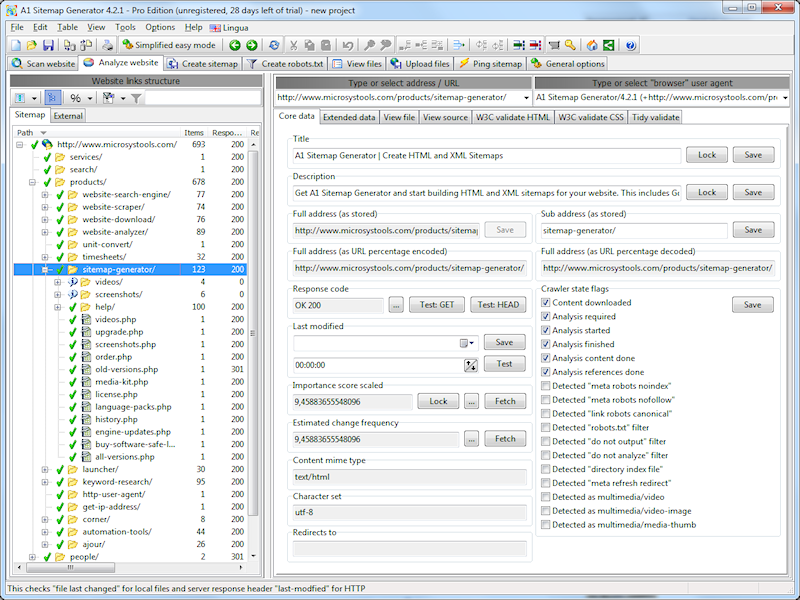 A1 Sitemap Generator 10.x Pro edition Screenshot