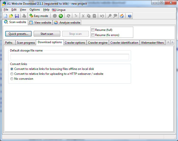 A1 Website Download 10.x, Development Software Screenshot