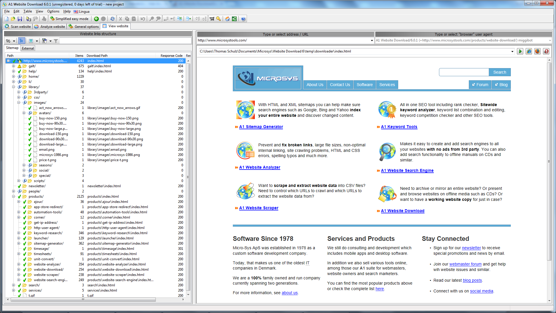 A1 Website Download 10.x Screenshot