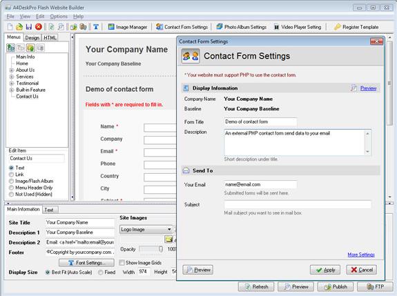 Website Builder Software, A4DeskPro Flash Website Builder (Max Plan) Screenshot