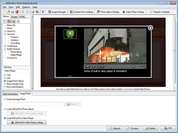 A4DeskPro Flash Website Builder (Max Plan), Website Builder Software Screenshot